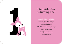 Blue Deer 1st Birthday Invitation - Kiss