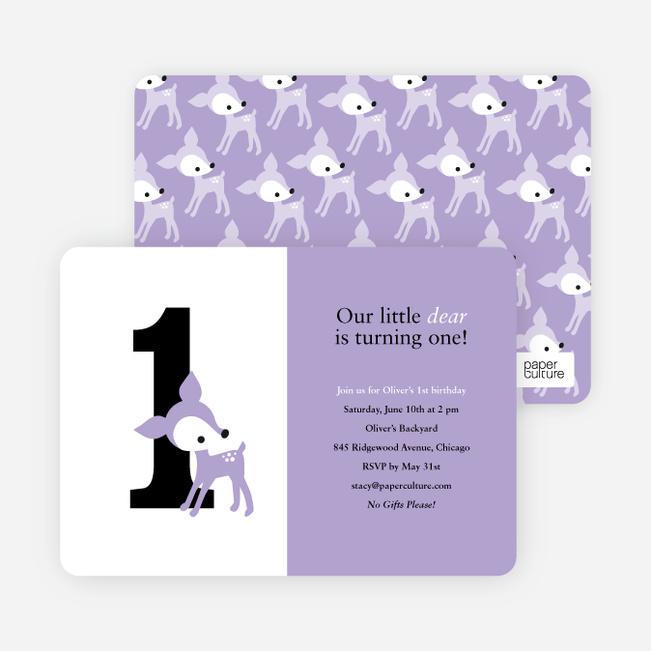 Blue Deer 1st Birthday Invitation - Lavender Candy