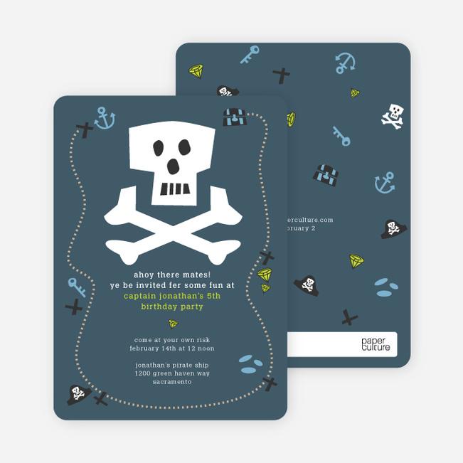 Blue Pirate Modern Birthday Invitation - Tempest Blue