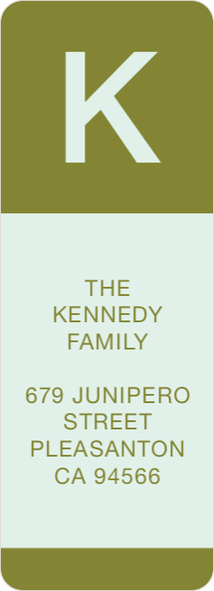Bold Monogram Custom Address Labels - Green