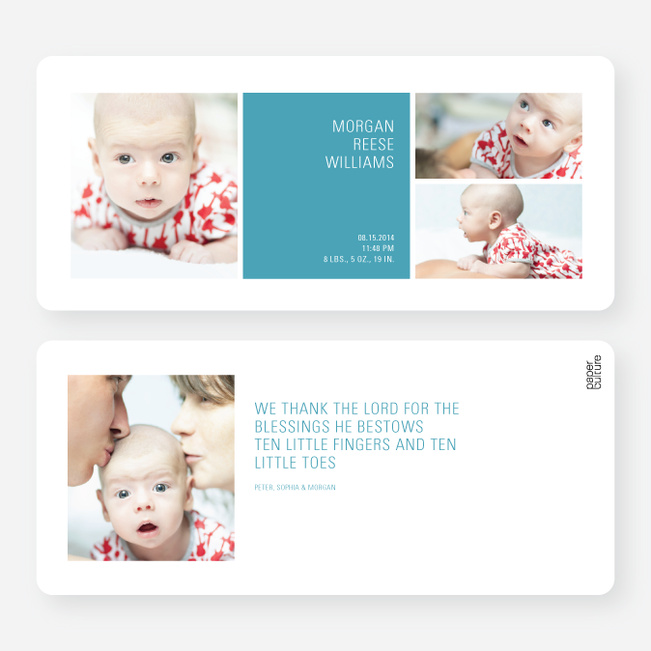 Boldly Modern Large Birth Announcements - Blue
