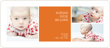 Boldly Modern Large Birth Announcements - Orange