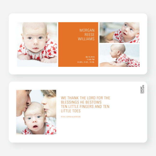 Boldly Modern Large Birth Announcements - Orange