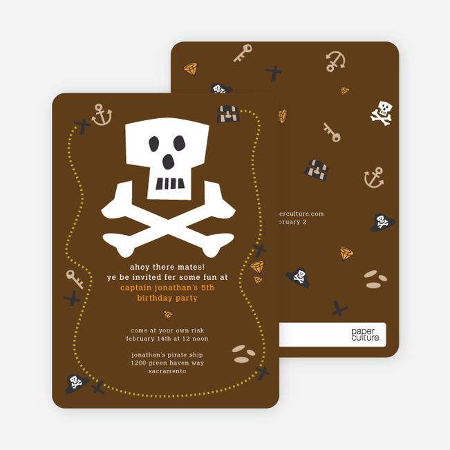 Brown Pirate Modern Birthday Invitation - Brown