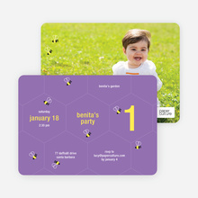 Buzzing Bee Modern Birthday Invitations - Gorgeous Grape
