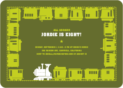 Classic Train Birthday Party Invitation - Green