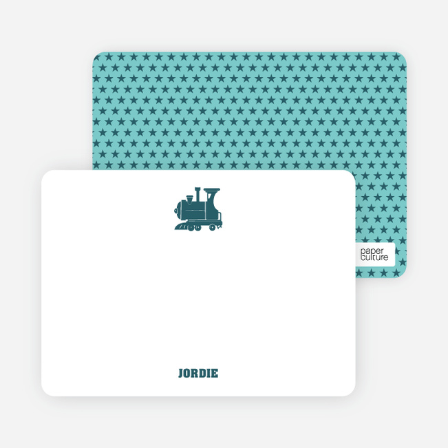 Classic Train Personal Note Cards - Blue