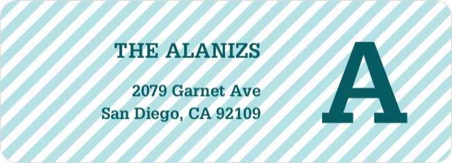 Diagonal Stripes Address Labels - Blue