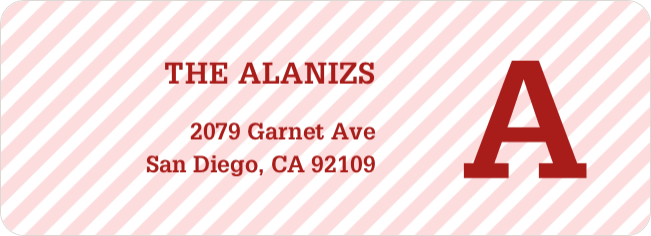 Diagonal Stripes Address Labels - Red