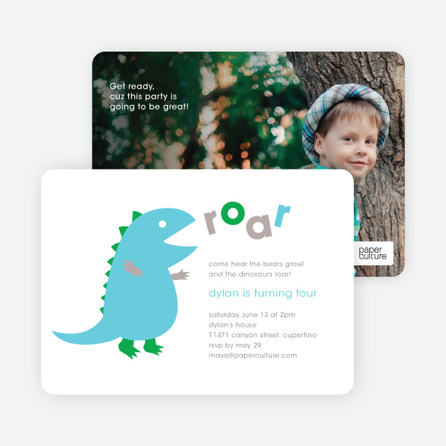 dinosaur modern birthday party invitation paper culture