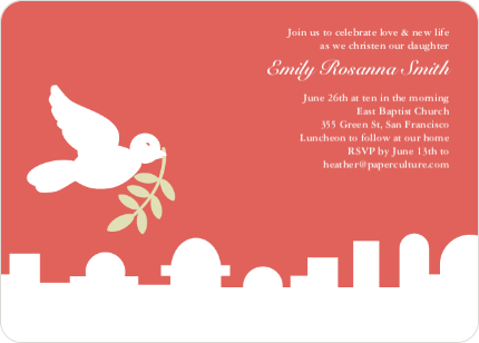 Dove Over Bethlehem Baptism Card - Watermelon Red