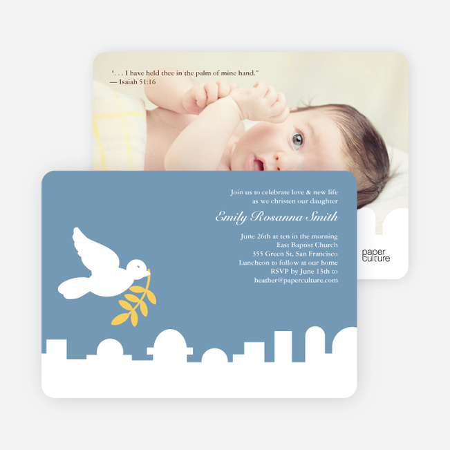 Dove Over Bethlehem Baptism Card - Blue