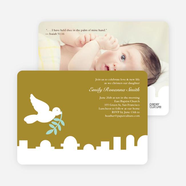 Dove Over Bethlehem Baptism Card - Olive