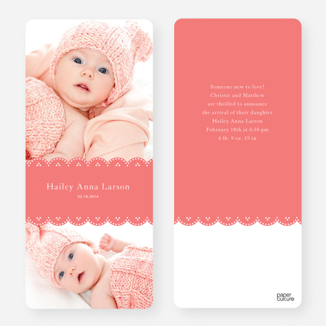Elegant Birth Announcements - Pink