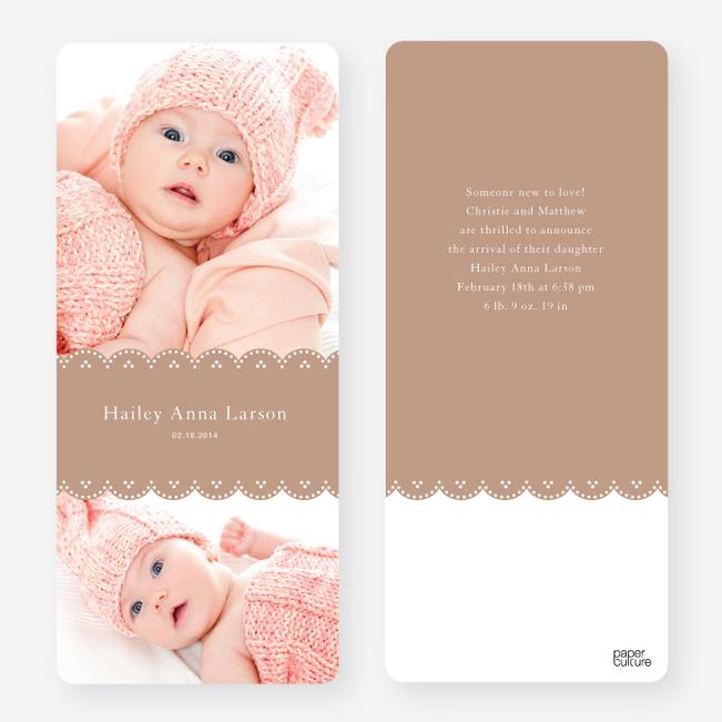 Elegant Birth Announcements - Brown