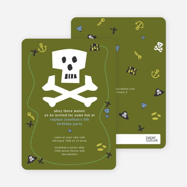 Green Pirate Modern Birthday Invitation - Olive Green
