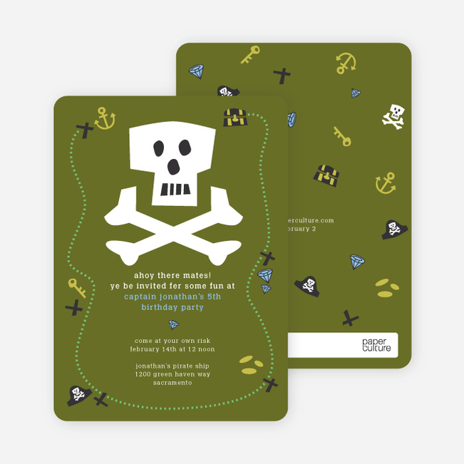 Green Pirate Modern Birthday Invitation - Olive Green