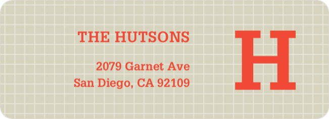 Grid Pattern Custom Return Address Labels - Orange
