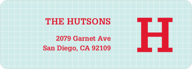 Grid Pattern Custom Return Address Labels - Red