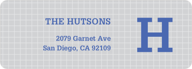 Grid Pattern Custom Return Address Labels - Blue