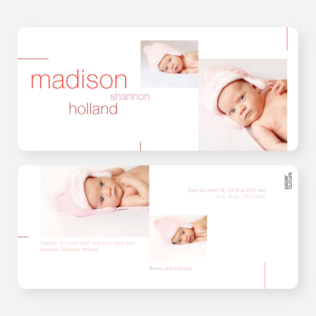 Birth Announcement Lines - Pink
