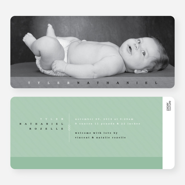 Modern Studio Birth Announcements - Green