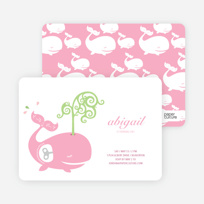 Modern Whale Spout Birthday Invitation - Baby Pink