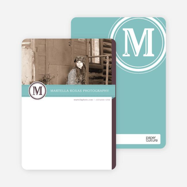 Monogram Photo Stationery - Blue