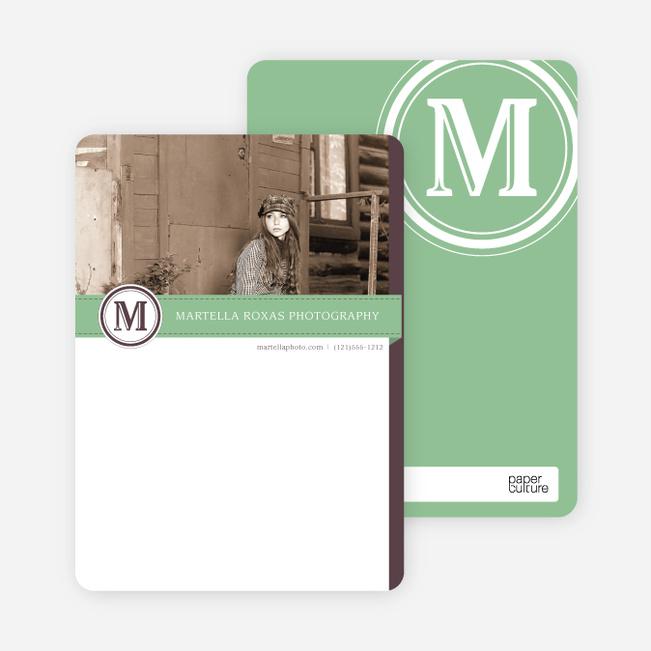 Monogram Photo Stationery - Green
