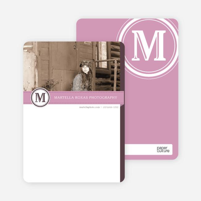 Monogram Photo Stationery - Pink