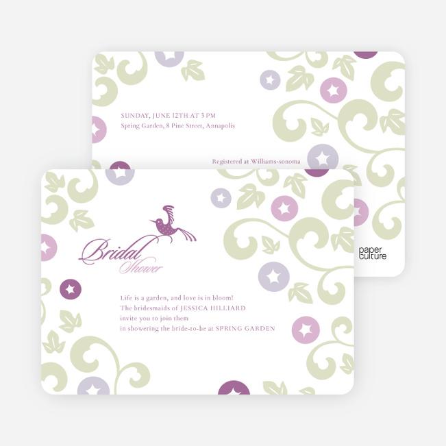 Morning Glory Wedding Shower Invitations - Magenta