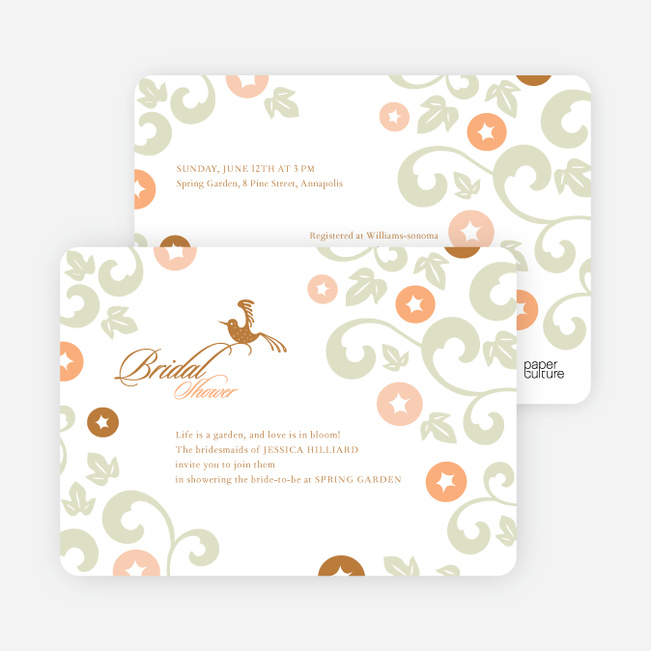 Morning Glory Wedding Shower Invitations - Bronze