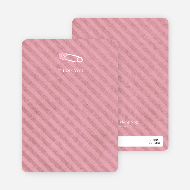Note Cards: 'Baby Pin Shower' cards. - Hot Pink