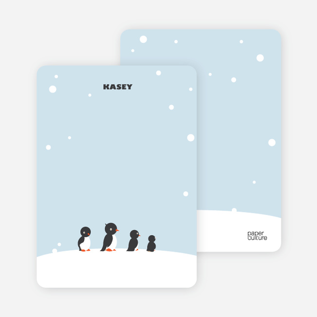 Notecards for the 'Dancing Penguins' cards. - Celestial Blue