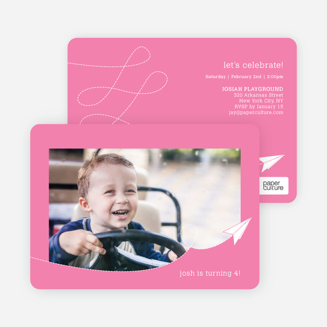 Paper Airplane Birthday Party Invitations - Pink