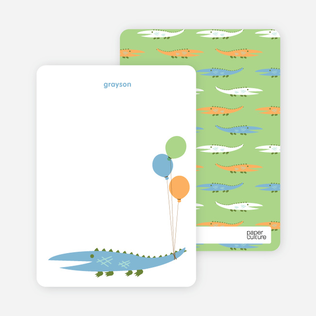 Personal Stationery for Alligator or Crocodile Invitation - Dusty Blue