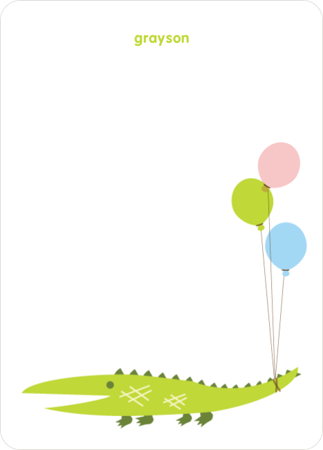 Personal Stationery for Alligator or Crocodile Invitation - Chartreuse
