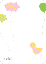 Balloon Zoo: Personal Stationery - Periwinkle