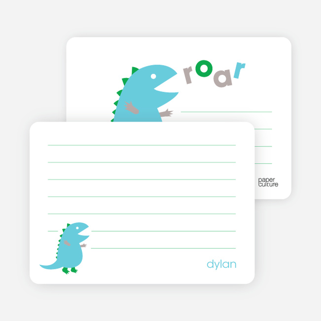 Personal Stationery for Dinosaur Modern Birthday Party Invitation - Sky Blue