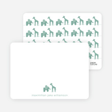 Jungle Fun Baby Announcement: Personal Stationery - Celadon