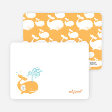 Personal Stationery for Modern Whale Spout Birthday Invitation - Apricot