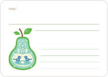 Pear Birds: Personal Stationery - Aqua