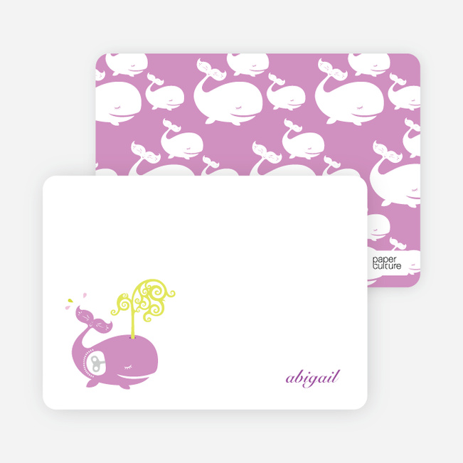 Personal Stationery for Whale Spout Modern Birthday Invitation - Wisteria