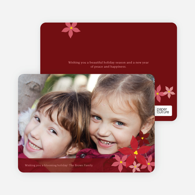 Poignant Poinsettia Holiday Photo Card - Maroon
