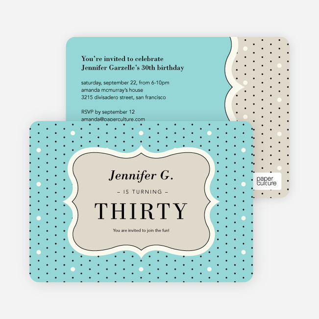 Polka Dot Themed Birthday Party Invitations - Blue