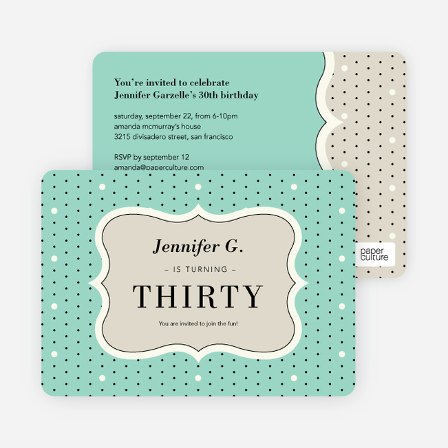 Polka Dot Themed Birthday Party Invitations - Green