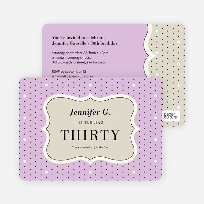 Polka Dot Themed Birthday Party Invitations - Purple