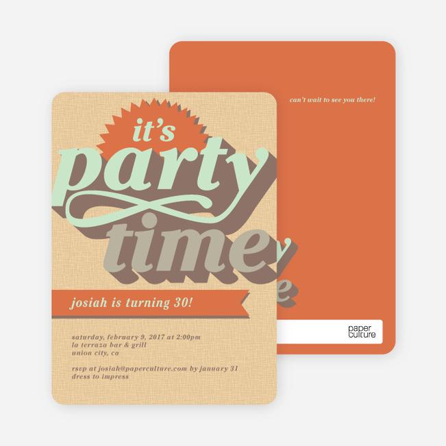Retro Party Invitations - Brown