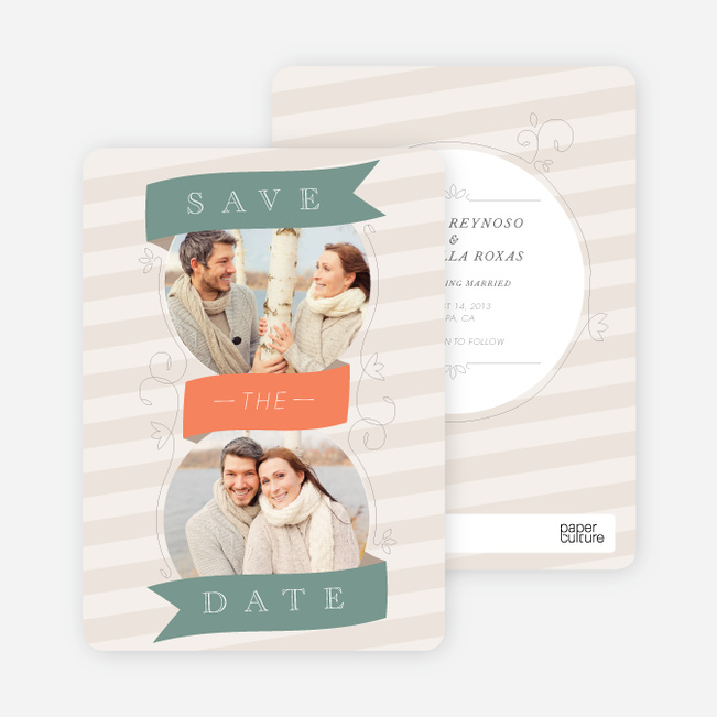 Ribbon Flourish Engagement Cards - Green