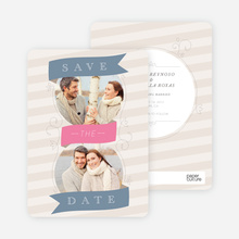 Ribbon Flourish Engagement Cards - Blue